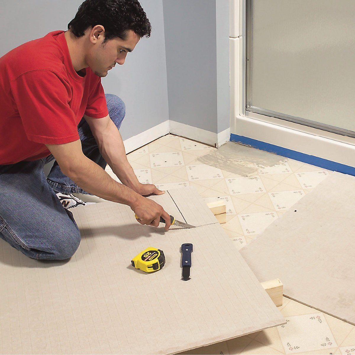 How To Install Ceramic Tile Floor In The Bathroom Ceramic Floor Tiles Tile Repair Installing Tile Floor