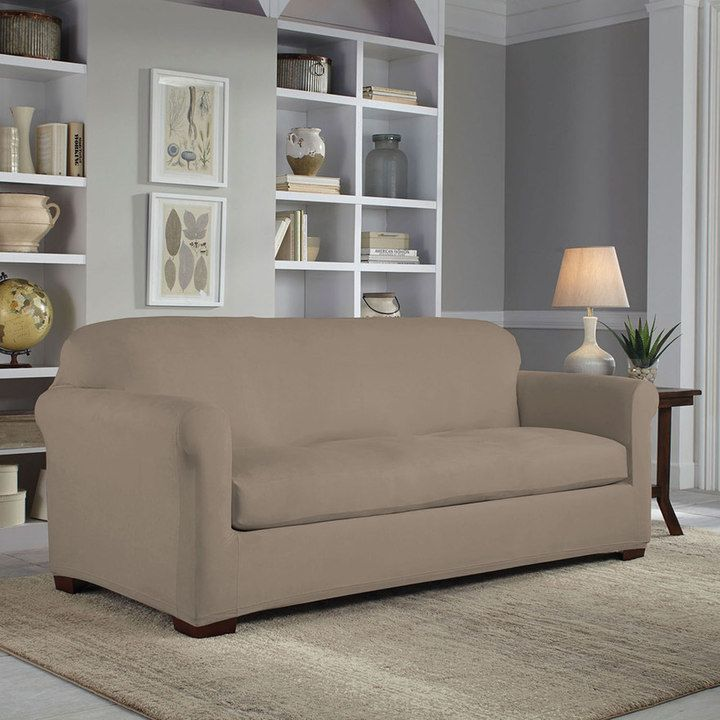 Serta Reversible Stretch Suede Sofa Slipcover, Grey | Suede Sofa, Sofa  Slipcovers And Products