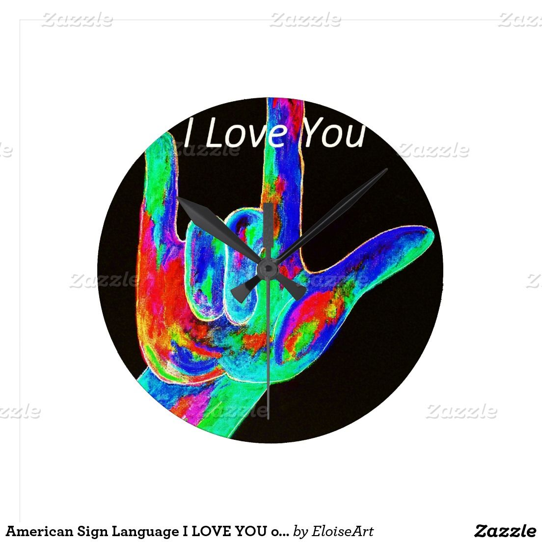 American Sign Language I LOVE YOU on Black Round Wall Clock