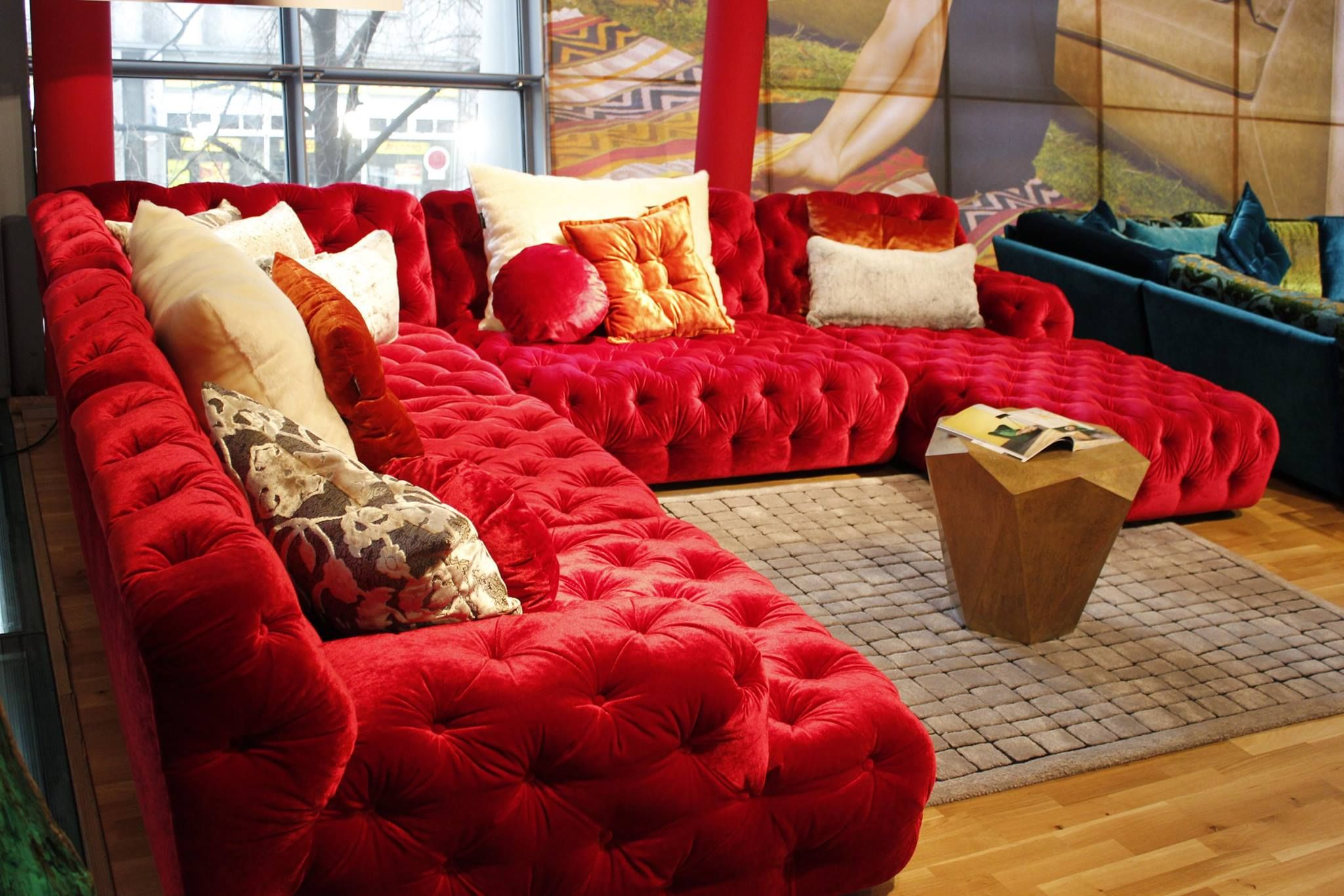 Modern Chesterfield Sofa by BRETZ. Red velvet upholstery ...