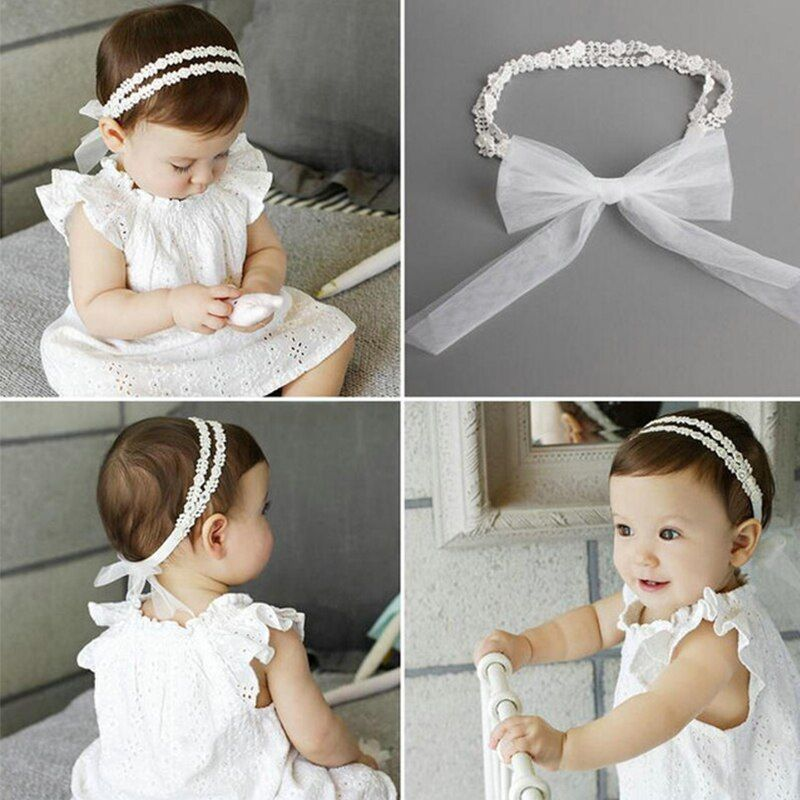 2019 1 Pcs Baby bow girls Lace Headbands pearl flowers Headband Headwear Hair Band Baby Hair Accessories Girls Christmas Gifts | best to buy online