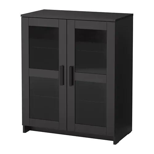 Brimnes Cabinet With Doors Glass Black Glass Black 78x95 Cm Cabinet Doors Brimnes Glass Cabinet Doors