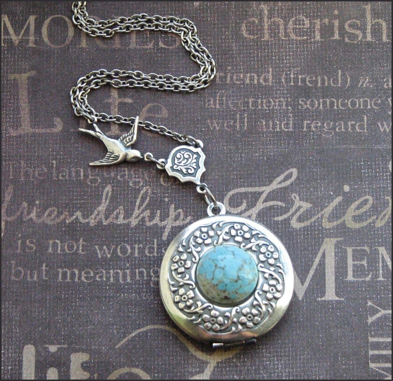 Necklace Locket - Silver Wreath Locket Necklace - Enchanted Robin Egg - Antique Silver - Handmade by TheEnchantedLocket. $37.00, via Etsy.