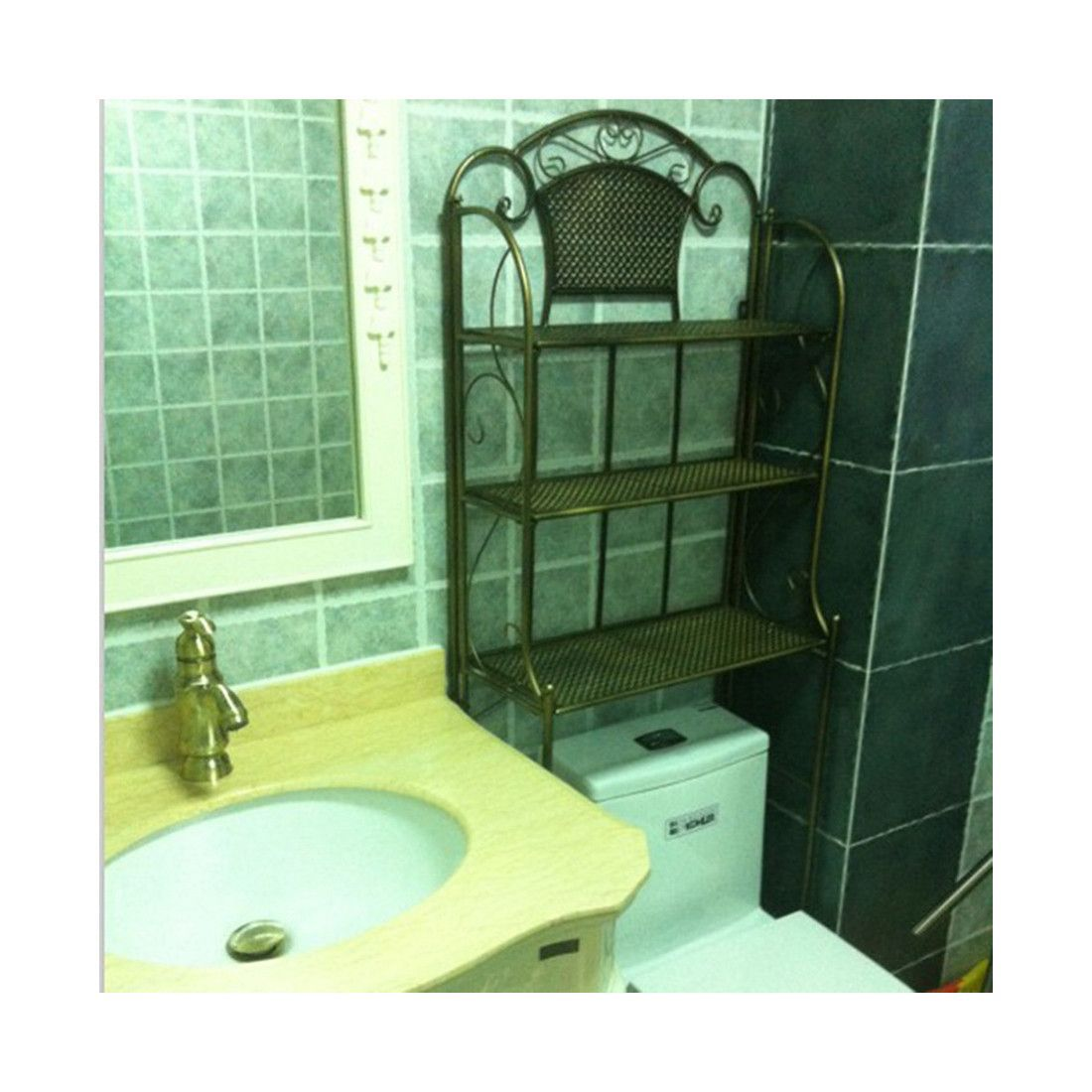 Landmark Taoyuan Court Continental retro multilayer toilet rack toilet toilet shelving factory direct anti-rust Black