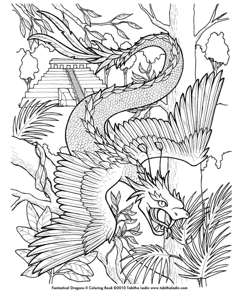 A Page From My Fantastical Dragons II Coloring Book Hand Drawn With Ink On Paper Feel Free To Color But Please Give Me Credit If You Post It