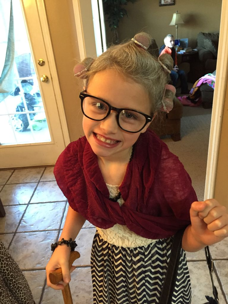 The 100th day of school! Dressed up like an old lady