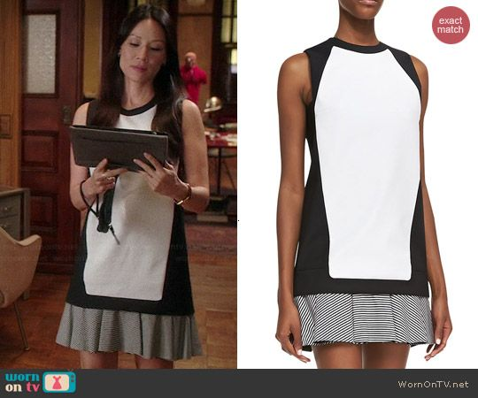 Joan's black and white colorblock dress on Elementary.  Outfit Details: http://wornontv.net/40479/ #Elementary