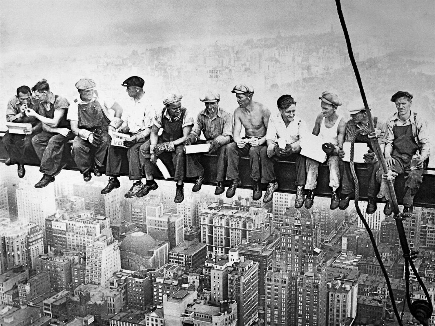 Men On Steel Beam Lunchtime Atop Nyc By John C Ebbets