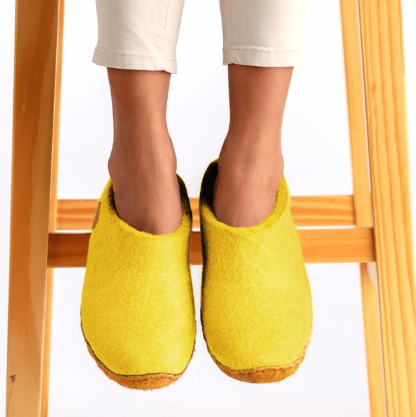 Photo of Nauseni Yellow Wool Felt Slippers – Trouva