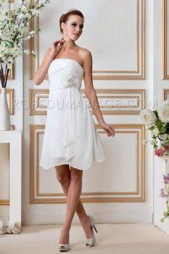 Civil robe mariage pas cher chiffon courte décolletée