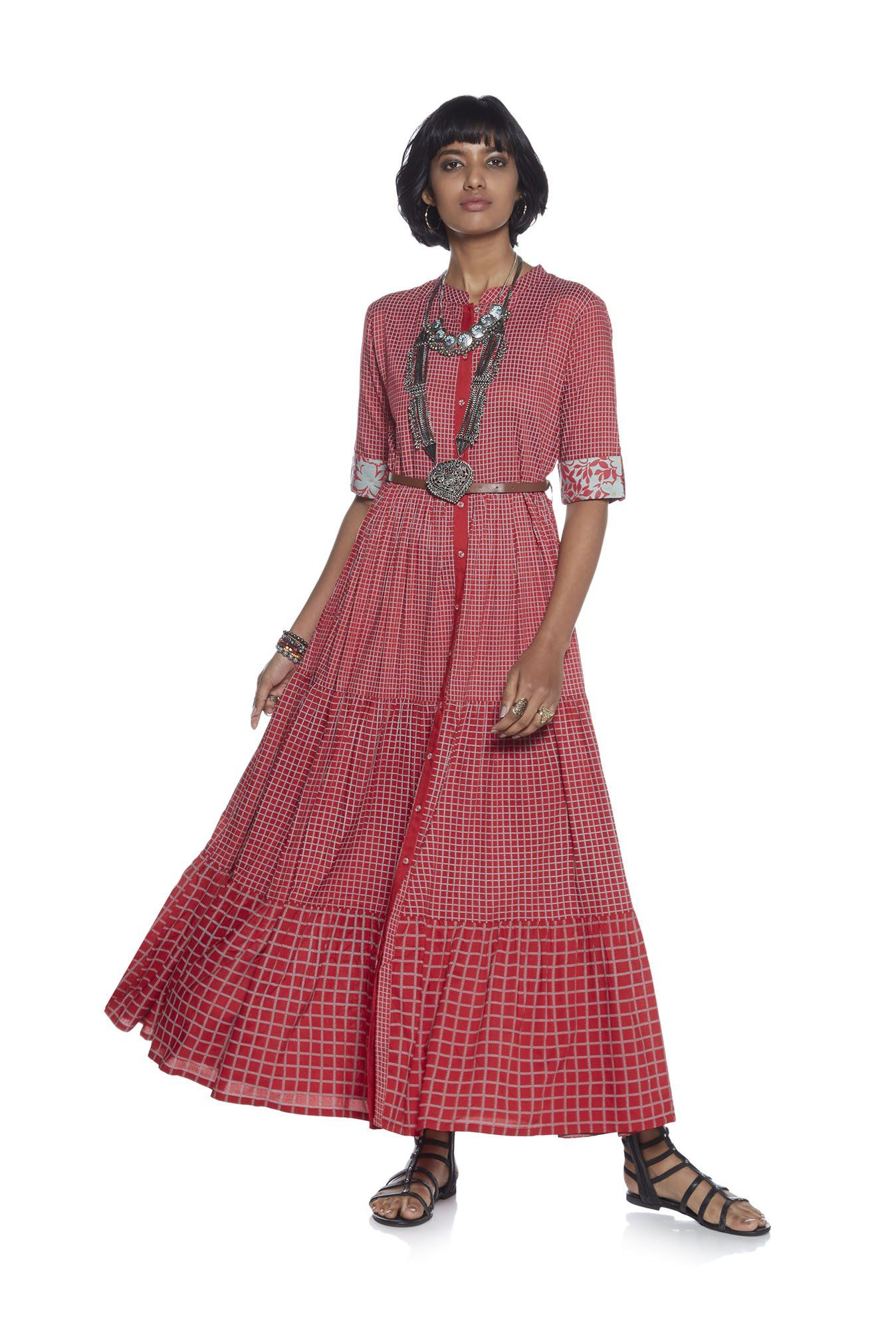 e726c46009b Bombay Paisley by Westside Red Tiered Dress With Belt
