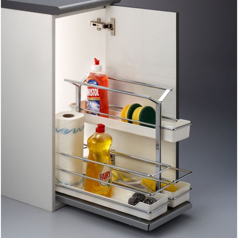 Accesorio extra ble para productos de limpieza ideal for Organizar armarios cocina