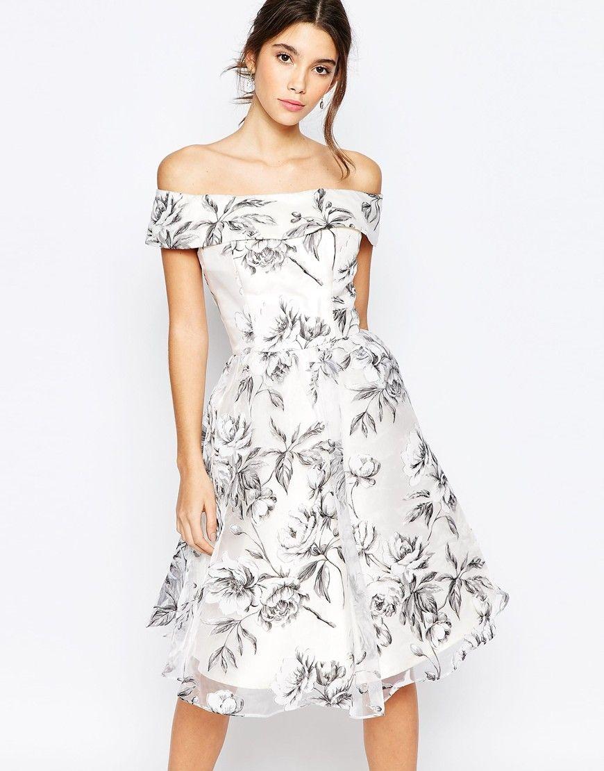 Off Shoulder Skater Dress - Casual Dress - White Dress - Chi Chi London - Asos