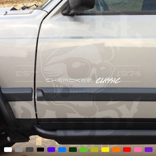 Jeep Cherokee Classic Decals Graphics Stickers Pair X2 Xj Emblems Badges Skulldaddygraphics Jeep Cherokee Emblems Jeep