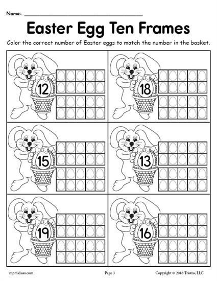 FREE Printable Easter Egg Ten Frame Worksheets Numbers 1