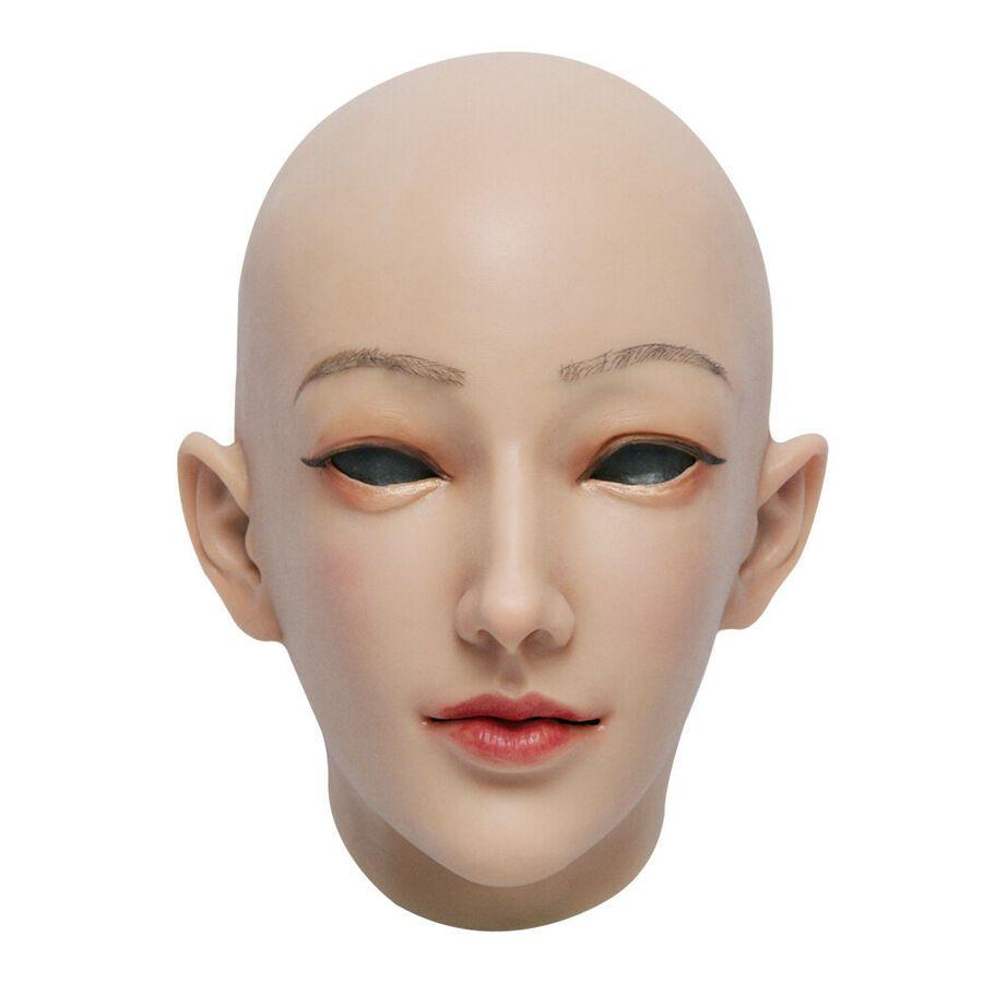 Masquerade Crossdresser Silicone Headwear Female Mask Realistic Halloween