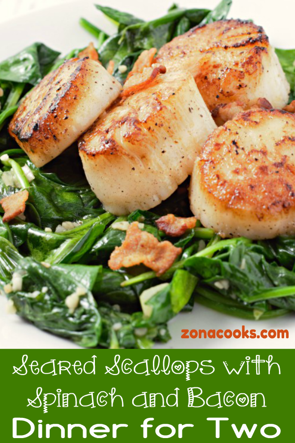 Seared Scallops With Spinach And Bacon In 2020 Scallops Seared Bacon Recipes Bacon Dinner