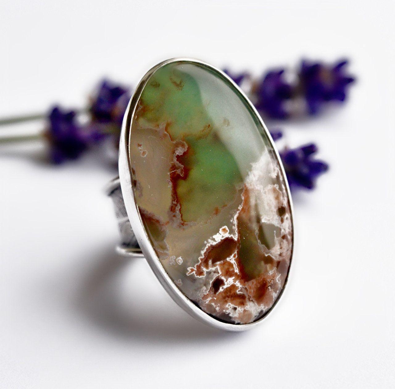 Everyday Ring Ocean Jasper Rings Green OOAK One of a Kind Yellow Artisan Sterling Silver Ocean Jasper Ring Gemstone Ring