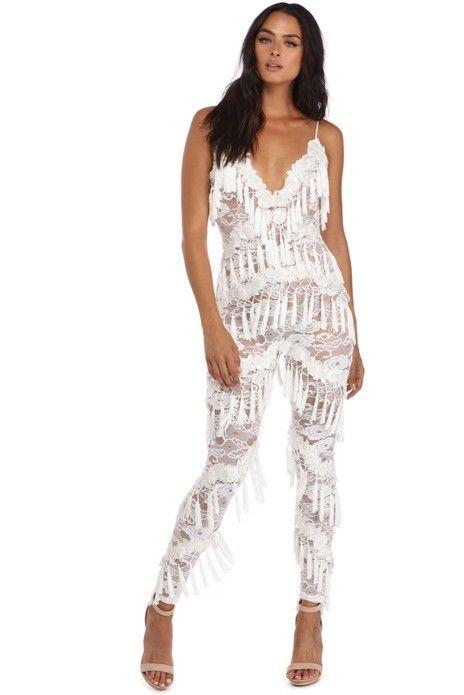 e9c75ce5e22b White Tassel Lace Bonanza Jumpsuit