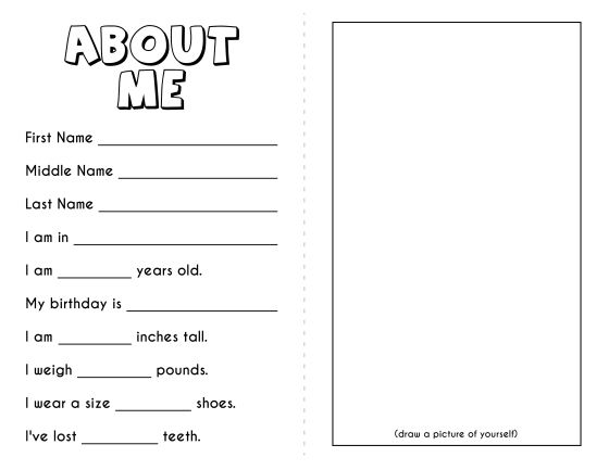 free all about me book template