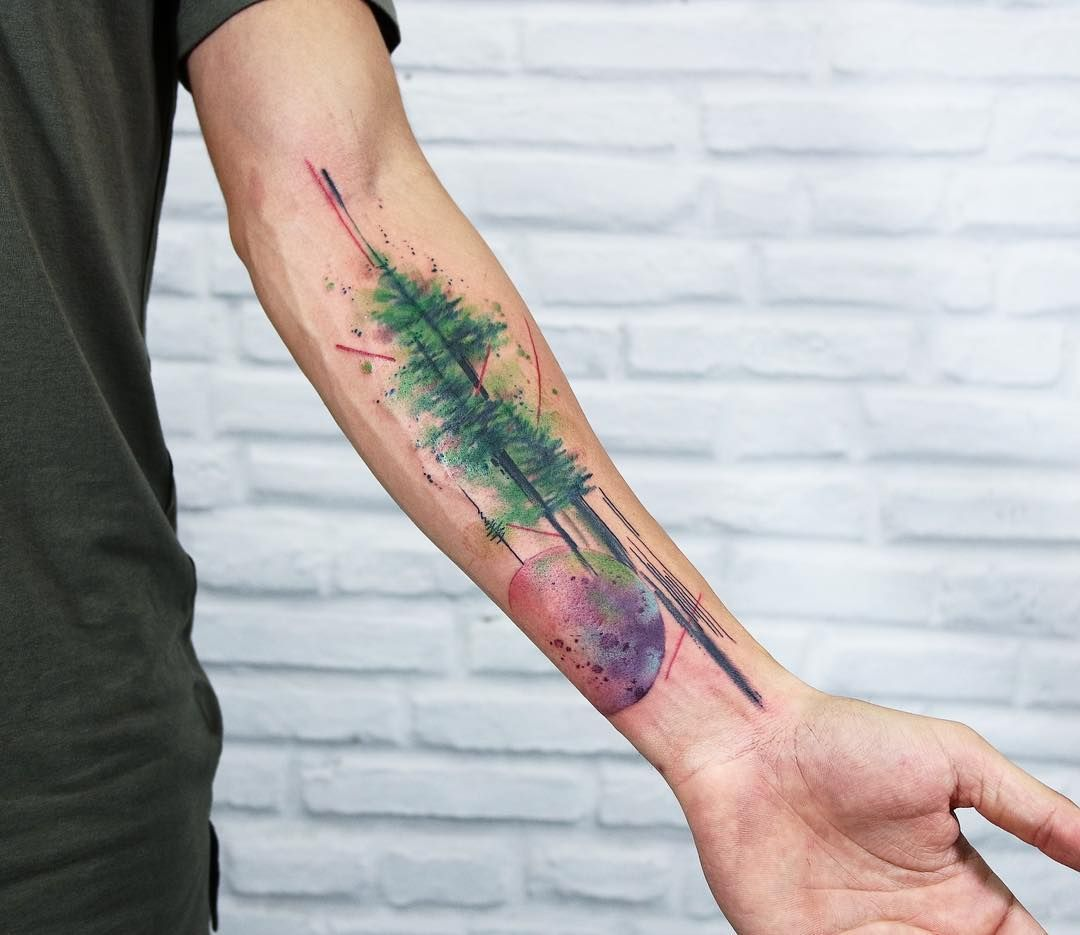 Abstract Tree And Moon Half Sleeve Watercolor Tattoo These Sunning Watercolor Sleeve Tattoos Have Tree Tattoo Color Tree Tattoo Forearm Watercolor Tattoo Tree