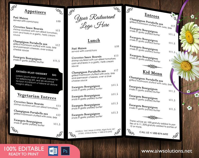 Trifold coffee MenuTemplates, drink Menu Template, Wedding Menu