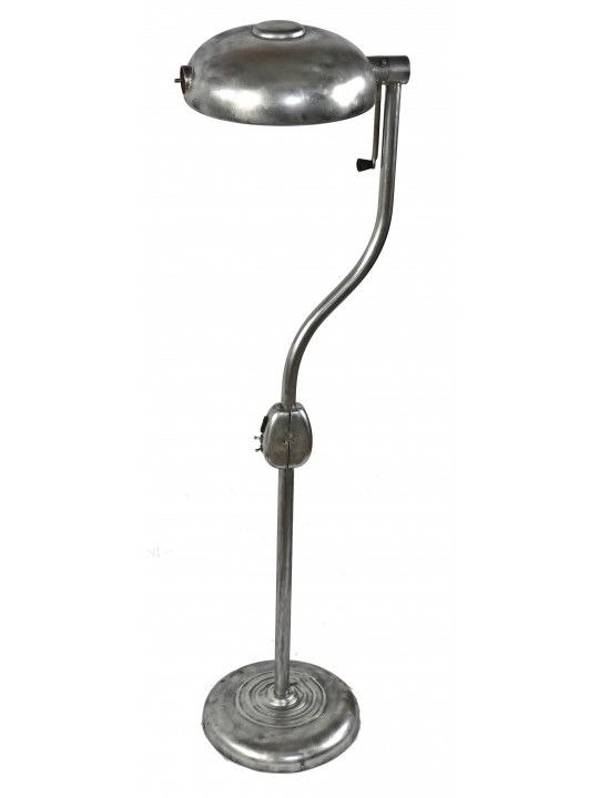 C 1940 S Vintage American Medical Freestanding Brushed Steel Salvaged Chicago Hospital Examination Floor Lamp With Swivel Shade Or Reflector