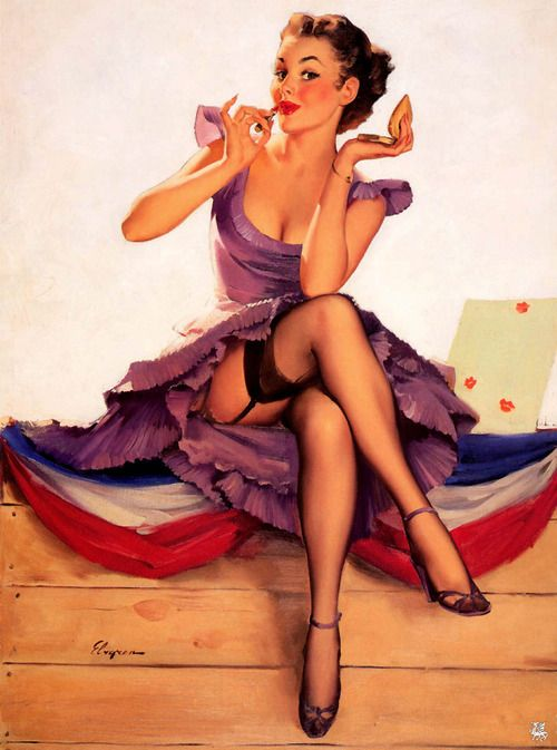 pinup girl in purple dress