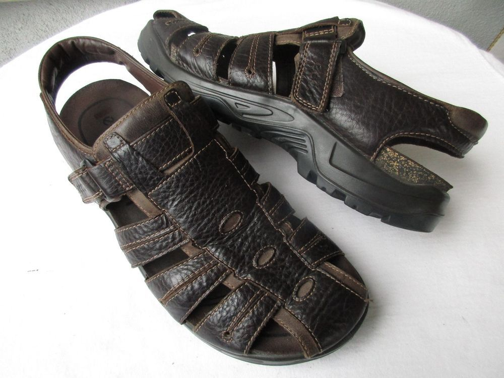 ECCO Men's Brown Leather Fisherman Sandals Shoes Size EU 46 / US 12 - 12.5 #