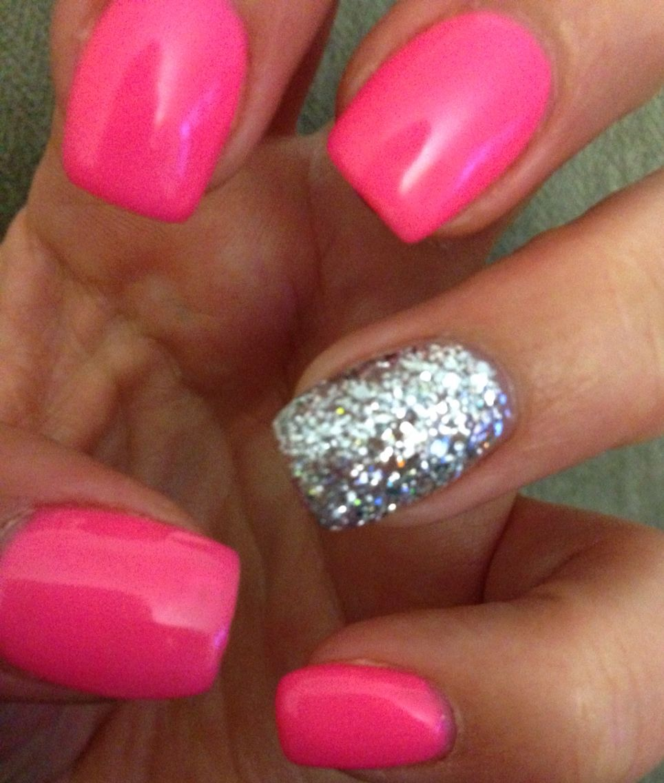 Hot Pink Nails With Glitter Accent Pink Nails Hot Pink Nails Dipped Nails