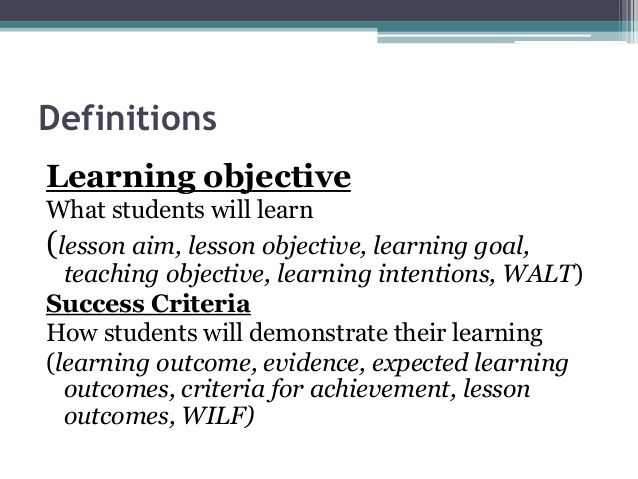 ways to display success criteria and learning intentions