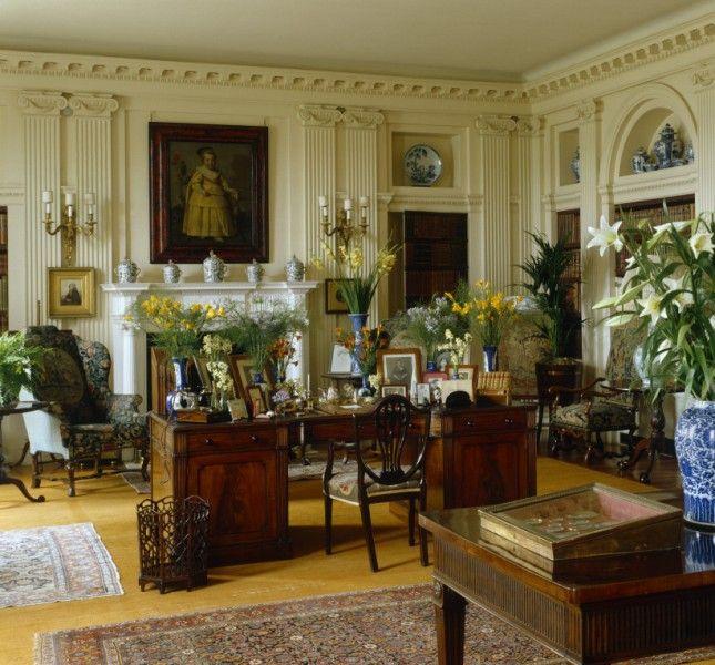 Classic english style love the vanilla wall trim color for British home interiors