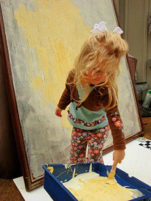 Upcycle ugly thrift store framed art into canvases for kid art