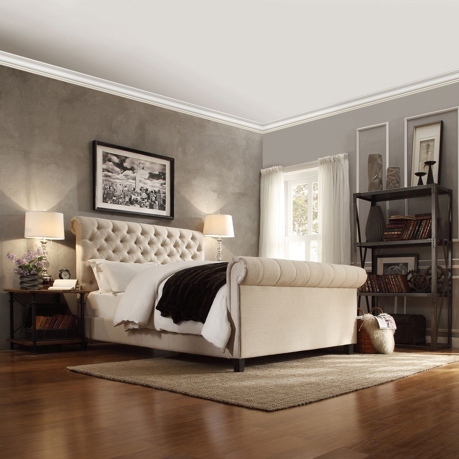 Knightsbridge Beige Linen Rolled Top Tufted Platform Bed