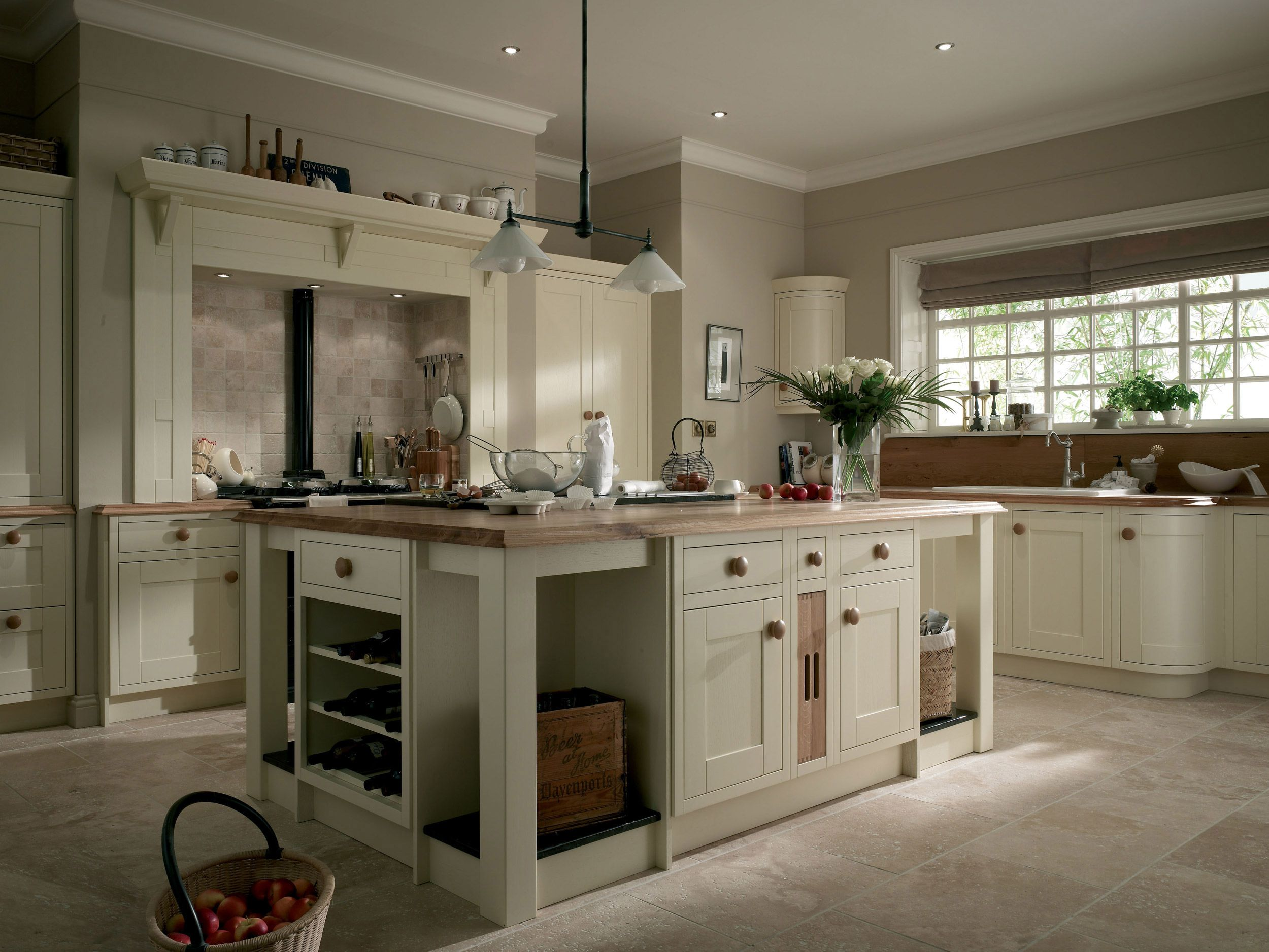 White Country Kitchen Design With Wooden Countertop And