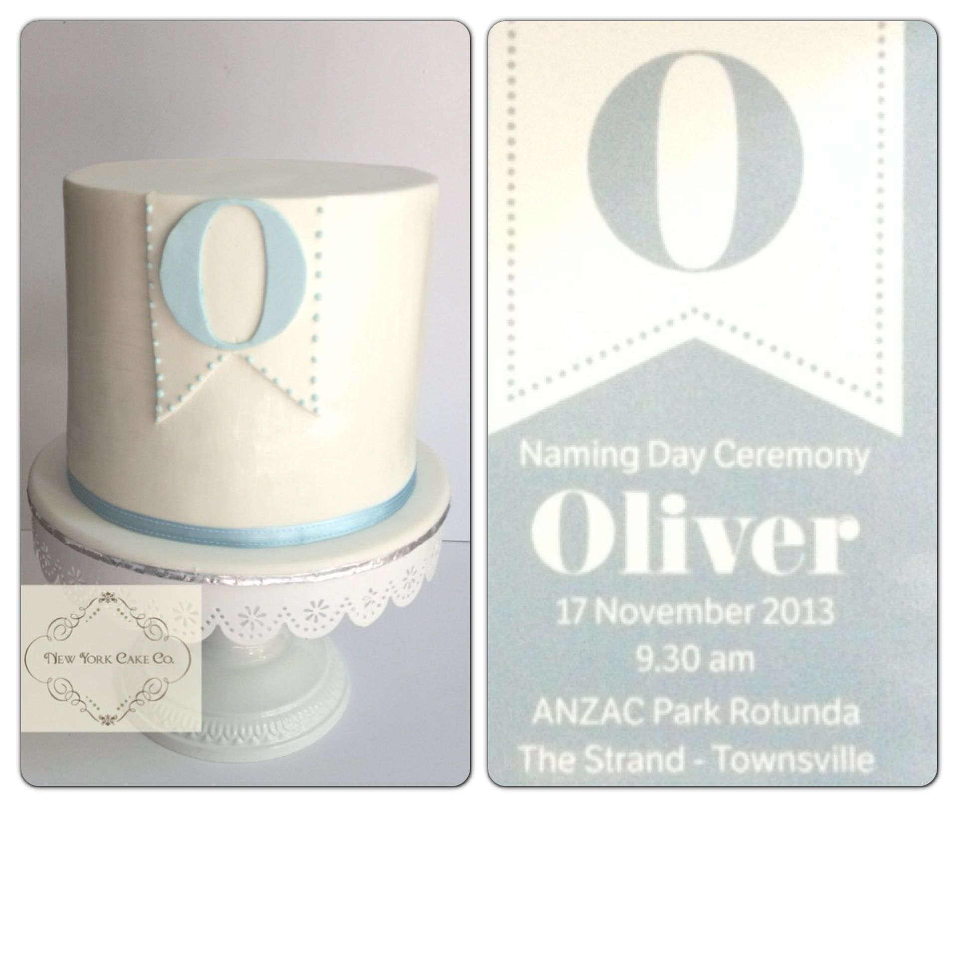 Baby Boy Naming Ceremony Cake Pure White And Light Blue