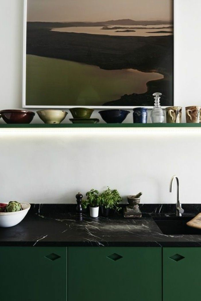 Arbeitsplatte schwarzer Marmor grün Tank Pinterest - küche spritzschutz selber machen