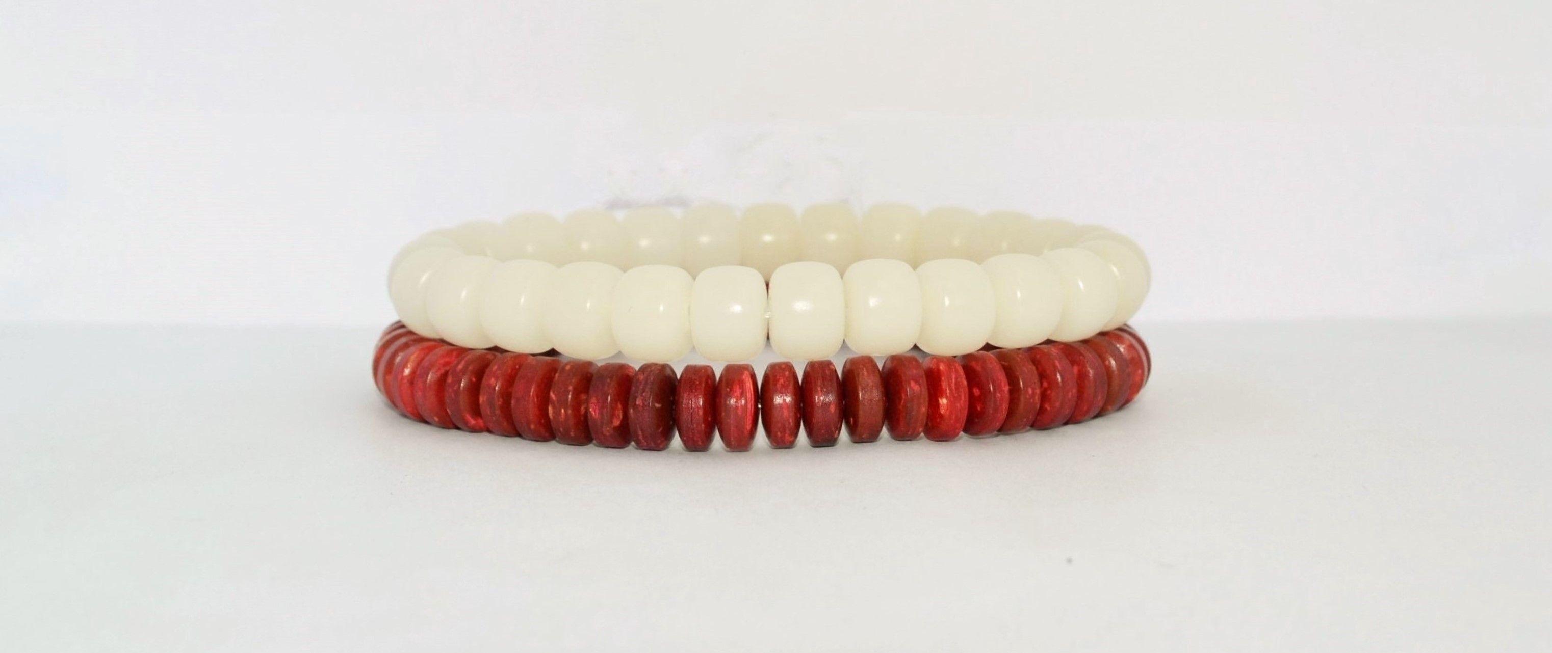 Mens Coconut Bracelet Mens Tagua Bracelet Nautical Mala Bracelets Red And  White Bracelets Surfer Bracelets Beach Jewelry Summer Yoga Chakra