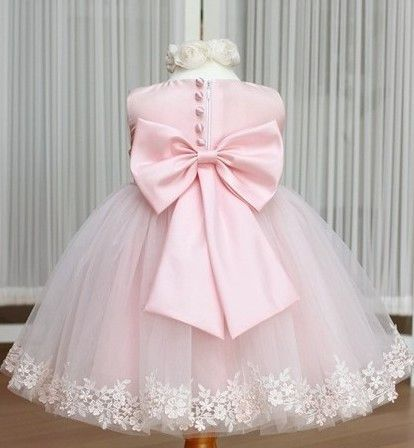 Girls Dress Princess Childrens Wear Party Veil Big Bow Girl Wedding Flower Baby Pink White In Apparel Accessories On A