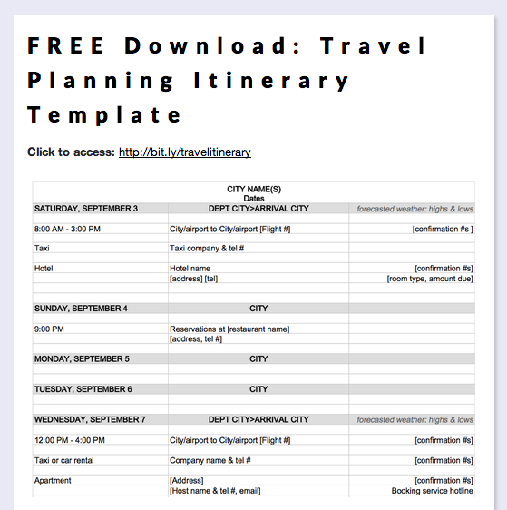 Free download travel planning itinerary template for Trip calendar planner template