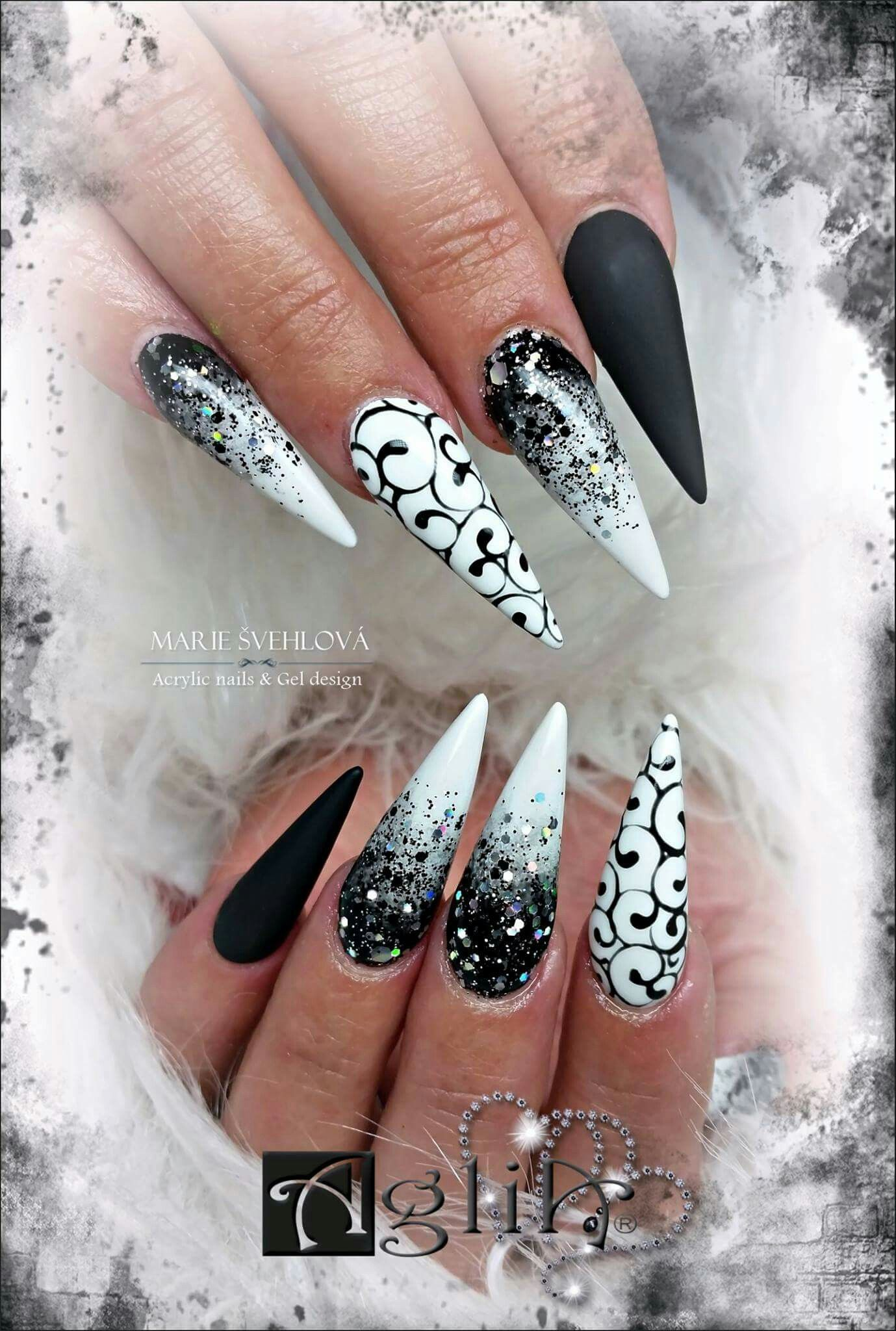 30 Creative Designs For Black Acrylic Nails That Will Catch Your