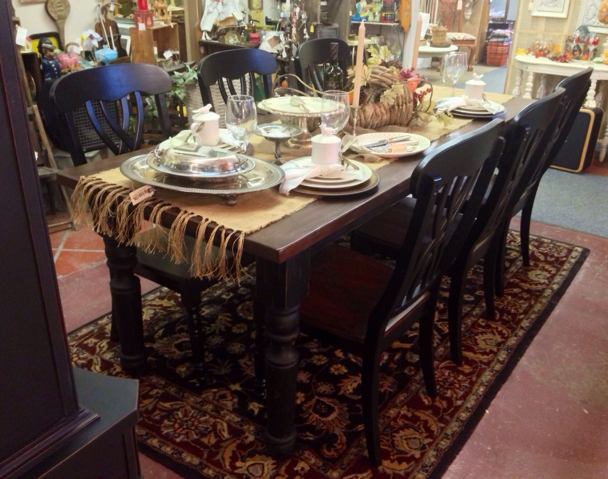 Old World Black 7ft. Farmhouse Table With 6 Weave Back Farmhouse Chairs  Custom Built