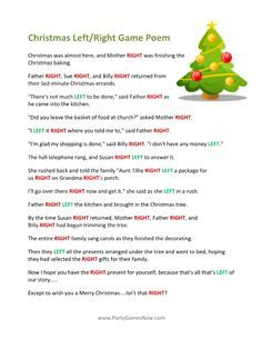 A Left Right Poem Is One Of The Easiest Ways To Do A Holiday Gift Exchange Or To Run A Part Christmas Games Printable Christmas Games Left Right Christmas Game