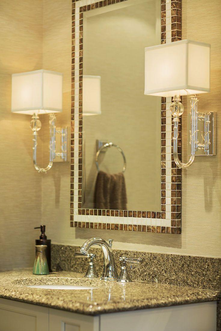 Custom designed mirror by Eve Weinberg #custommirror #bathroom #sink #interiordesign  #hillcrestdesign http://www.hillcrestdesign.ca
