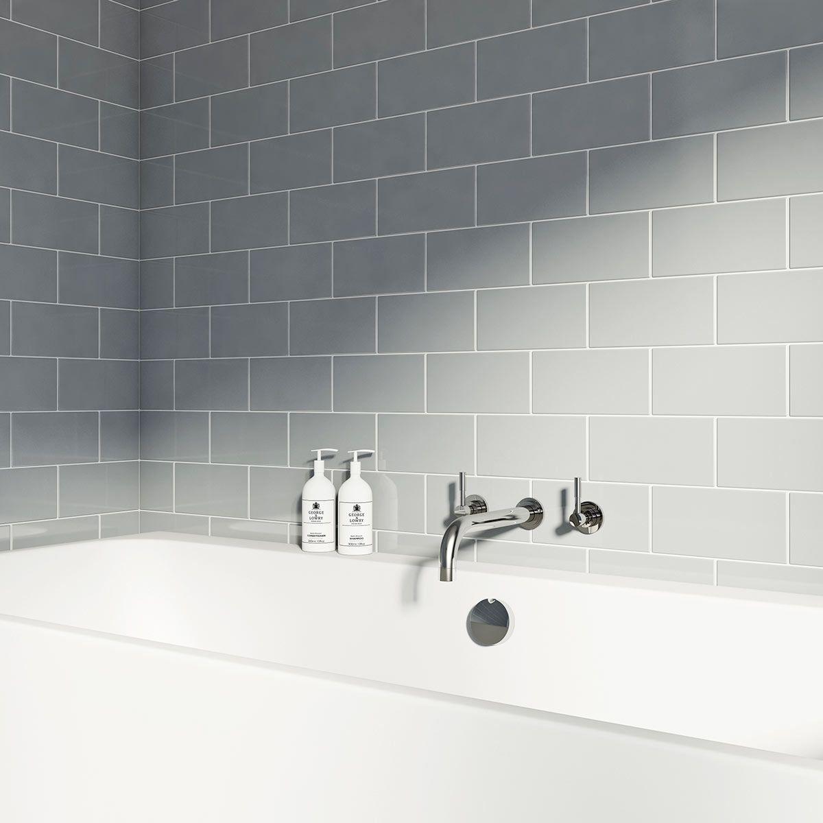 Metro Flat Cloud Grey Gloss Tile 100mm X 200mm Shower