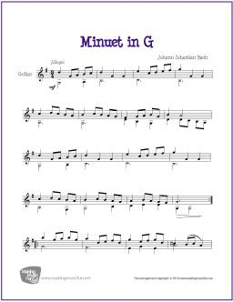 Minuet In G Free Easy Guitar Sheet Music Digital Print Sheet Music Guitar Sheet Music Free Sheet Music