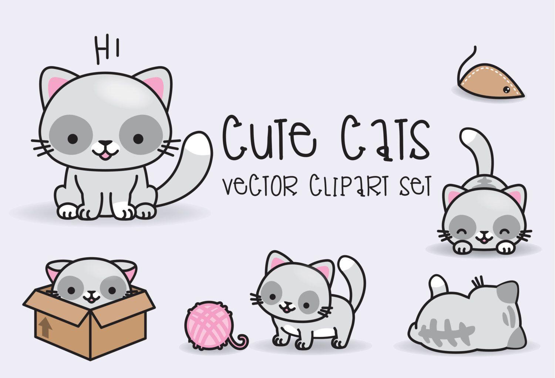 Premium Vector Clipart - Kawaii Cats - Cute Cats Clipart ...