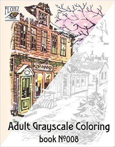 Adult Grayscale Coloring Book Christmas Scenes Winter Santa Vintage Design Aage Dam For