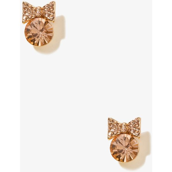 FOREVER 21 Bejeweled Bow Studs ($3.80) ❤ liked on Polyvore