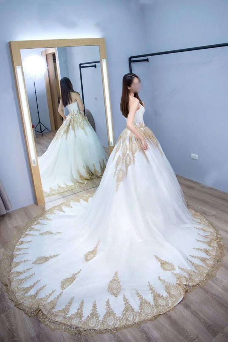 9746bd94f99 Princess Ball Gown Strapless Court Train White Tulle Wedding Dress with Gold  Lace